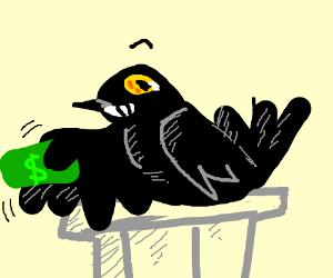 Hawk on podium waves around money