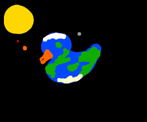 Duck-shaped earth.
