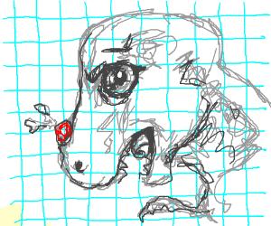 Grid paper dinosaur pimple