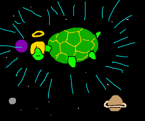 turtle with blonde hair is god of space