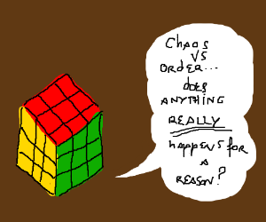 A solved Rubiks Cube has existential crisis.