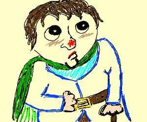 A hobbit wearing a green cape