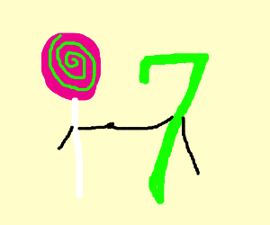colorful lollipop and seven holding hands