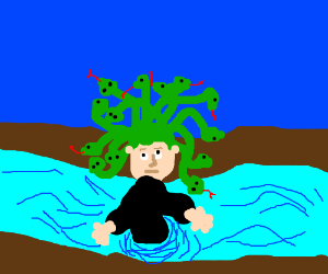 Medusa crying a river