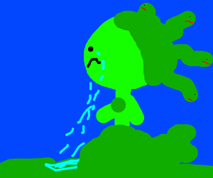 Green sad man with tentacle hair
