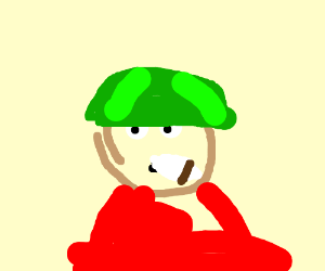 Smoking man with a watermelon helmet