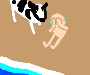 naked guy cries on beach while cow watches