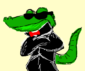 crocodile in suit drawing by swashki drawception
