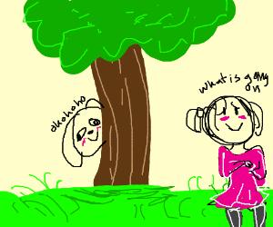 Creepy Dog stares at girl from behind tree