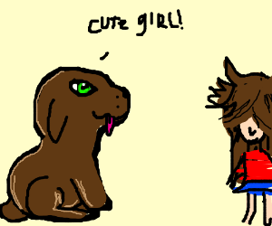 Dog thinks girl is cute as she flips her hair