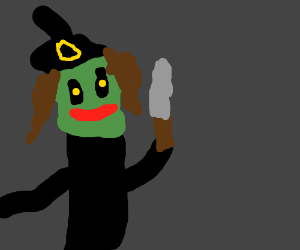 A witch with a pallet Knife