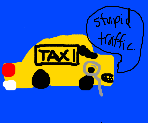 Angry taxi with monocle