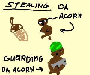 Squirrel stealing an acorn