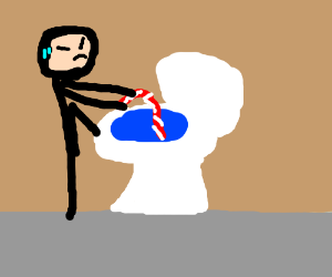candy cane stuck in a toilet