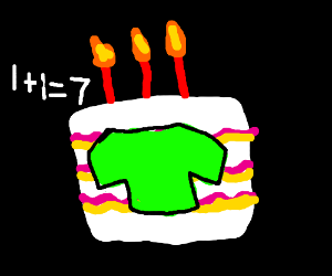 Green-shirted birthday cake can't do math