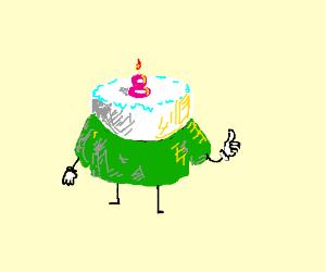 8th birthday cake in a green shirt