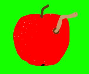 Worm inside an apple