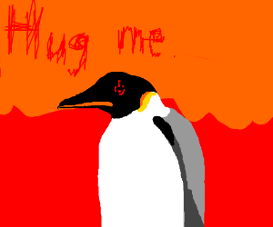 demonic emperor penguin wants a hug