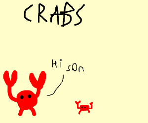 Dad crab greets his son