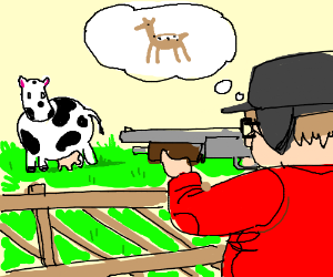 Hunter in red mistakes cow for deer.
