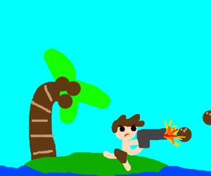 A man on a tropical island with a coconut gun.