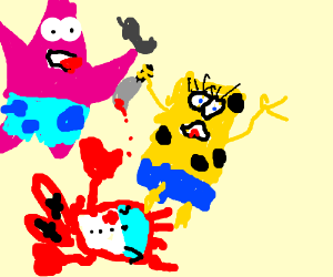 Spongebob kills Mr. Krab and patrick calle 911
