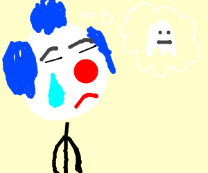 Clown tears ghost down