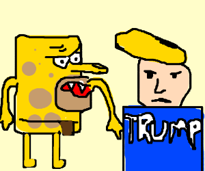 Trump is giving birth to Hillary and SpongeBob - Drawception