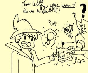 The boy gives a wolf food through M A G I C