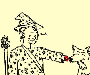 Wizard feeds Wolf