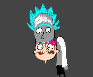 Rick eating Morty's brain