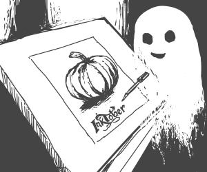 Ghost pen & ink draws a very nice pumpkin.