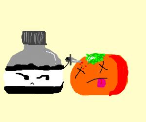 Ink killing a tomato?