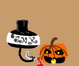 Jar of ink stabs a pumpkin.