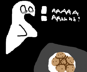 Ghost is afraid of cookies.