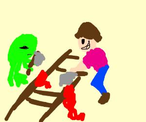 Frog n boy axe murder train tracks