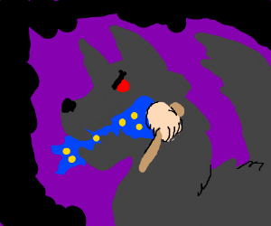 Wolf eats a wizard's arm