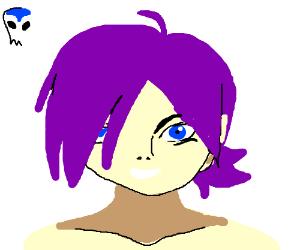 creepy purple haired girl