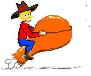 Cowboy rides chicken leg