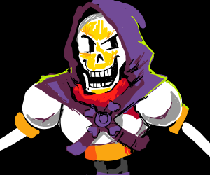 Papyrus dresses up as Skeletor for Halloween