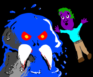 Purple guy admires slimy blue monster killer