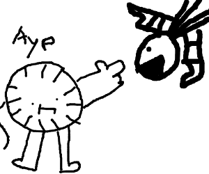 a badly drawn clock pointing at a sock monster