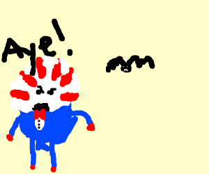 """Peppermint Butler saying """"aye"""" to a bat"""