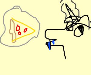 pony sallivates while levitating pizza