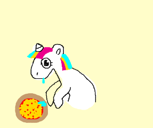 Unicorn drools over pizza