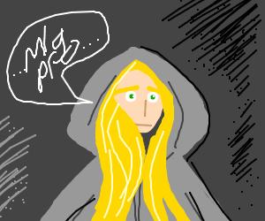 blonde in hoodie that says mlg pro