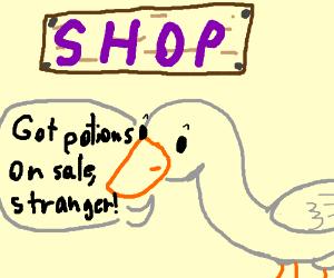 """Goose Shop """"Got potions on sale, stranger!"""""""