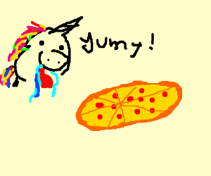 Unicorn drooling into her pizza