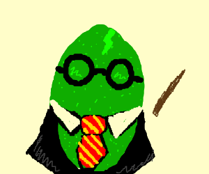 Lime dressed as Harry Potter witch is sad