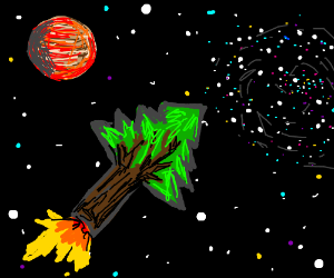 Tree Rocket flies through the depths of space.